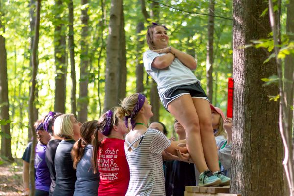 The Trust Fall, one of our many team building activities